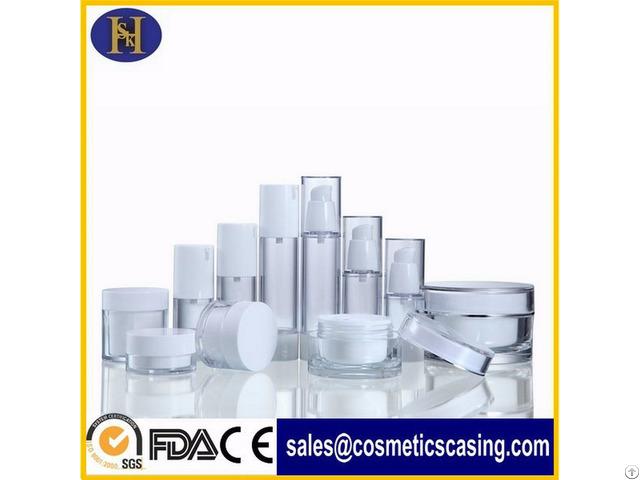 White Cream Plastic Lotion Bottles Airless Bottle Set