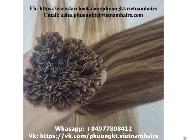 V Tip Hair Extensions With Italian Keratin Vietnam Company Fair Color