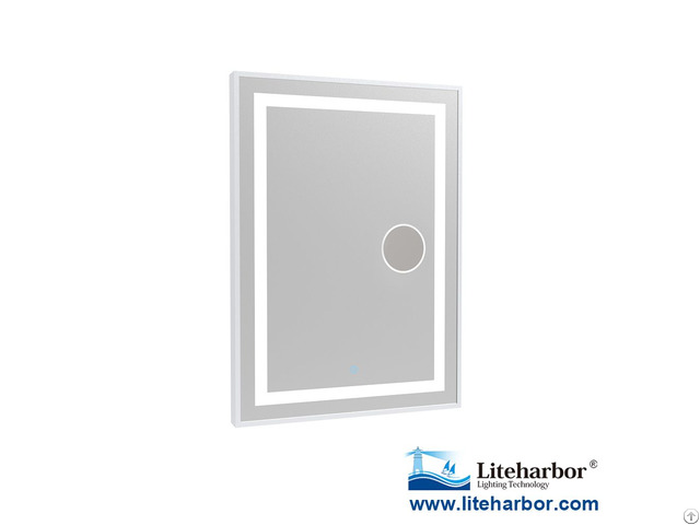 Framed Led Bathroom Mirror With Magnifier From Liteharbor Lighting