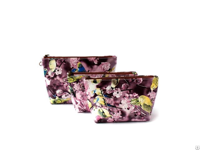 Korean Style Full Printing Pu Cosmetic Bag Oem Emboidery Logo