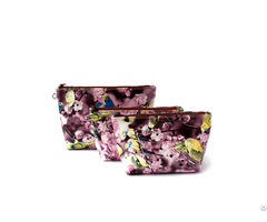 Korean Style Full Printing Pu Cosmetic Bag Oem Emboidery Logo
