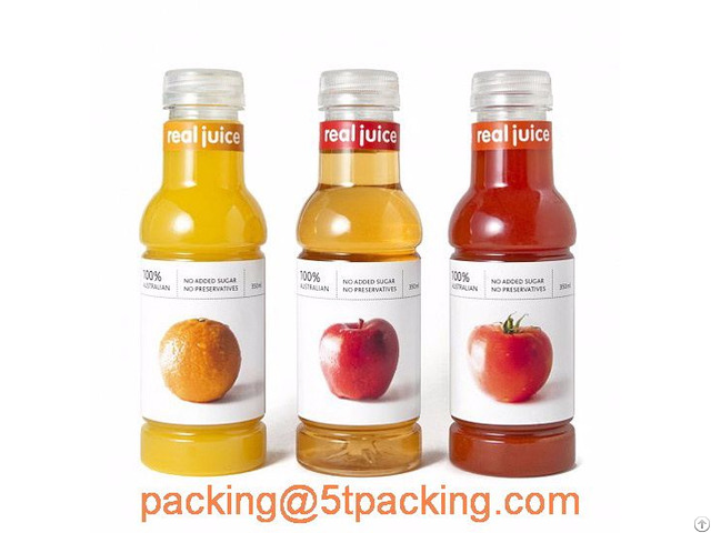 Plastic Adhesive Labels In Creative Classified Fruits Juice Bottles