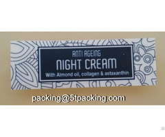 Anti Ageing Night Cream Bottle Labels With Flower Pattern Background