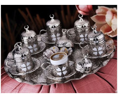 Coffee Set Clover Pattern 27 Pieces Silver Color