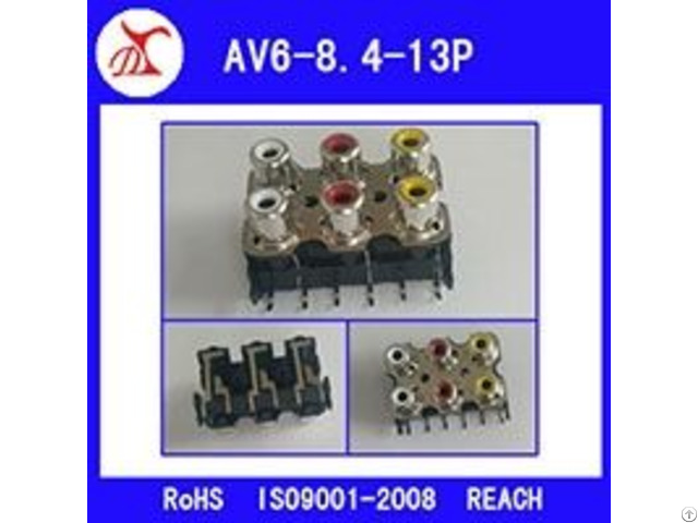 6pin Rca Av Socket For Pcb Mount Connector