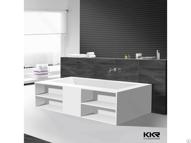 Acrylic Solid Surface Soaking Bathtub Recetangle Freestanding Bath