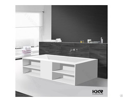 Acrylic Solid Surface Soaking Bathtub Recetangle Freestanding Bath