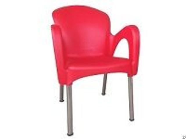 Outdoor Plastic Arm Chairs Aluminum Legs For Restaurant Cafeteria Garden