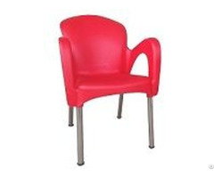 Outdoor Plastic Arm Chairs Aluminum Legs For Restaurant Cafeteria Garden