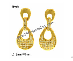 New Trendy S925 Silver And Brass Dangling Ear Ring With Aaa Cz