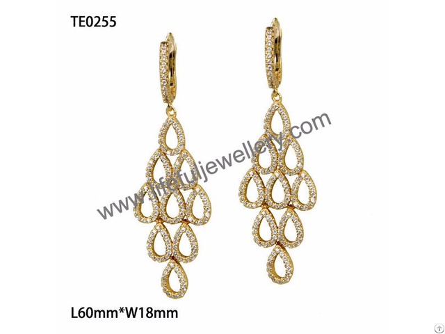 American Style Big Jewelry S925 Dangling Ear Ring With Aaa Cz