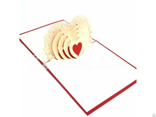Heart 1 Love 3d Handmade Greeting Pop Up Card
