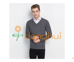 High Quality Winter V Neck Knitted Pure Cashmere Pullover Sweater For Men