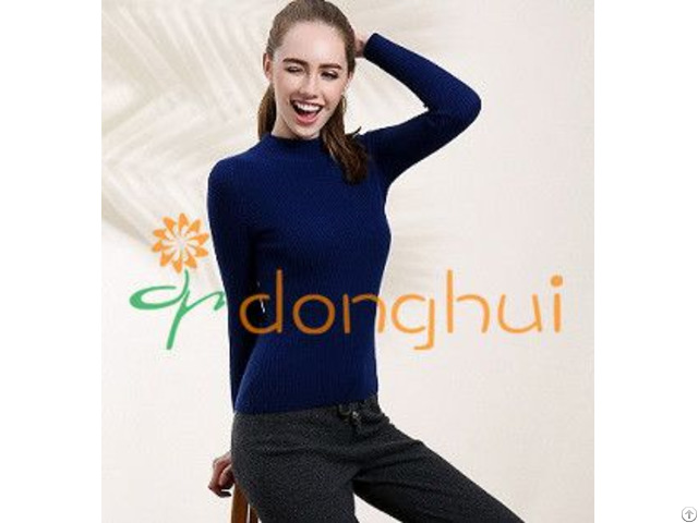 Plain Knitted Cashmere With Wool Crew Neck Sweater For Women