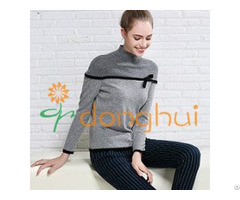 Good Quality Ladies High Neck Cashmere Sweater With Bowknot