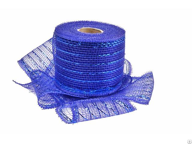 Royal Blue Strip Poly Wholesale Deco Mesh Roll