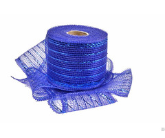 Royal Blue Strip Poly Wholesale Deco Mesh Roll
