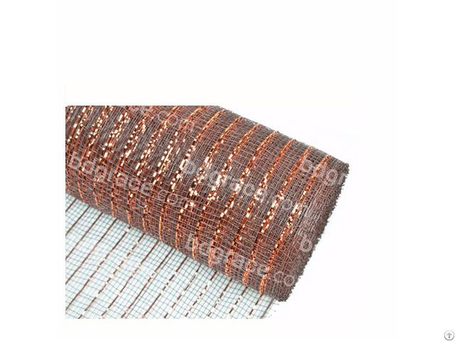 Dark Brown Decoration Material Plastic Strip Mesh For 50c19