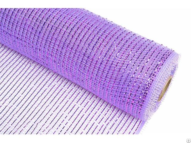 Light Purple Strip Pp Wraps Mesh For Flowers 100c08
