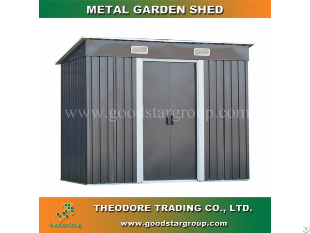 Metal Garden Shed Pent Roof 4x8ft Outdoor Tools Bicycle Storage Kitset Portable Steel Building