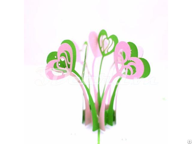 Heart Flower 3d Pop Up Birthday Card