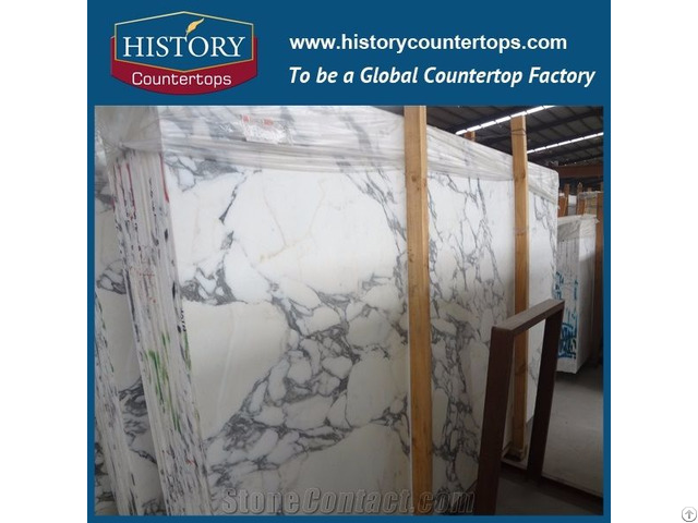 White Marble For Kitchen Countertops 30mm Thickness Polished Slabs