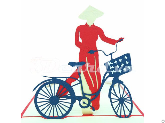 Girl And Bicycle 2 3d Pop Up Greeting Card