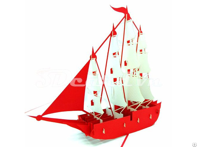 Sailboat 4 Pop Up 3d Handmade Birthday Card
