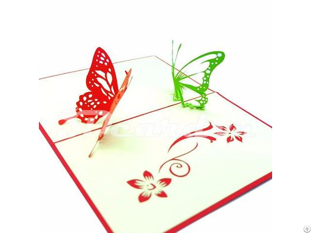 Two Butterflies 3d Pop Up Handmade Greeting Card