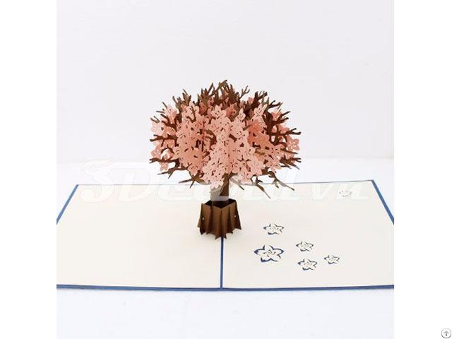 Cherry Blossom 3d Pop Up Handmade Greeting Card