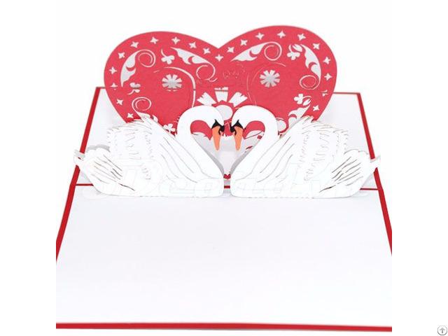 Swan Couple 3 3d Pop Up Love Card