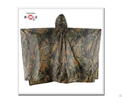Waterproof Polyester Woodland Military Rain Poncho