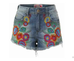 Shorts In Embroidered Jeans For Women