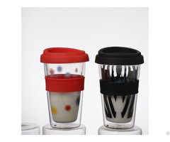 Custom Pyrex Double Wall Glass Coffee Cup With Silicon Lids