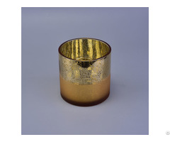 Plating Half Frosted Gold Round Glass Candle Holder