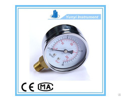 Stainless Steel Shell Pressure Gauge With Brass Connector