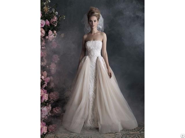 China Suppliers Customize Beautiful Bride White Wedding Dress 2017