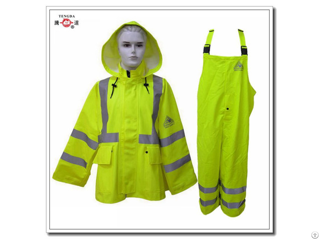 Reflective Flame Retardant Yellow Polyester Raincoat