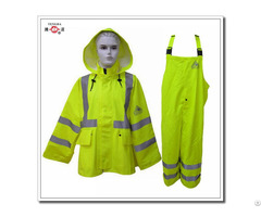 Reflective Flame Retardant Yellow Polyester Raincoat