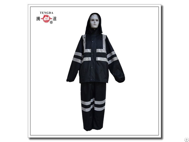 Raincoat Factory Reflective Waterproof Plain Polyester Rainsuit