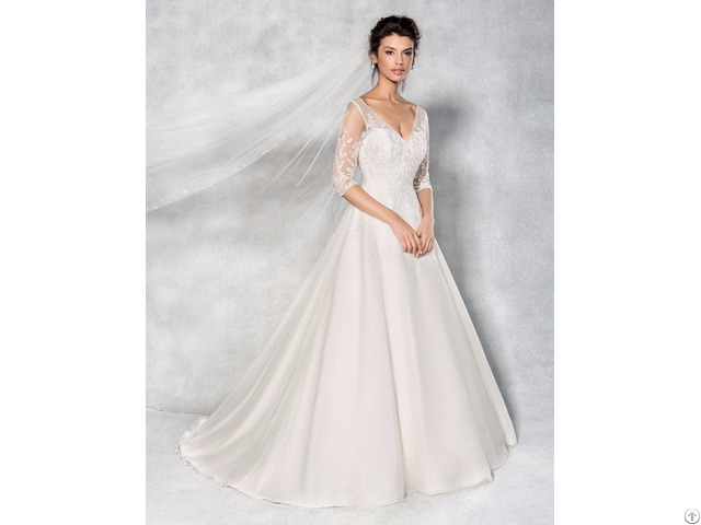 A Line Princess Wedding Dress V Neck Floor Length Bridal Gown