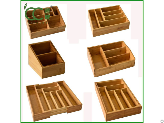 Bamboo Storage Box Drawer Organizer
