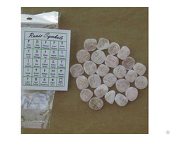 Natural Gemstone Rose Quartz Rune Stone Set