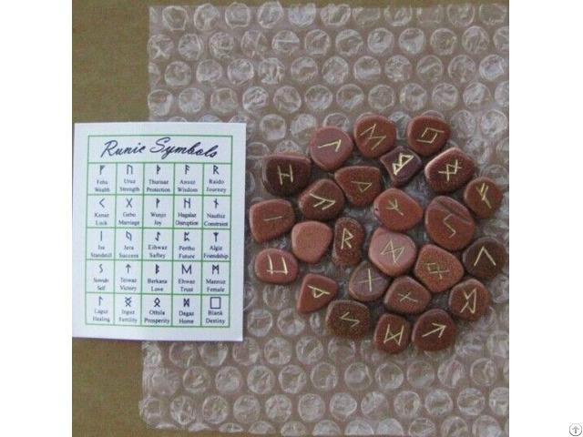 Wholesale Goldstone Gemstone Rune Sets