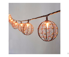 Decorative Beaded Copper Wire Ball String Light 10ct Kf01043