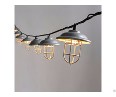 Decorative Galvanized Hood And Wire Cage String Light 10ct Kf01696