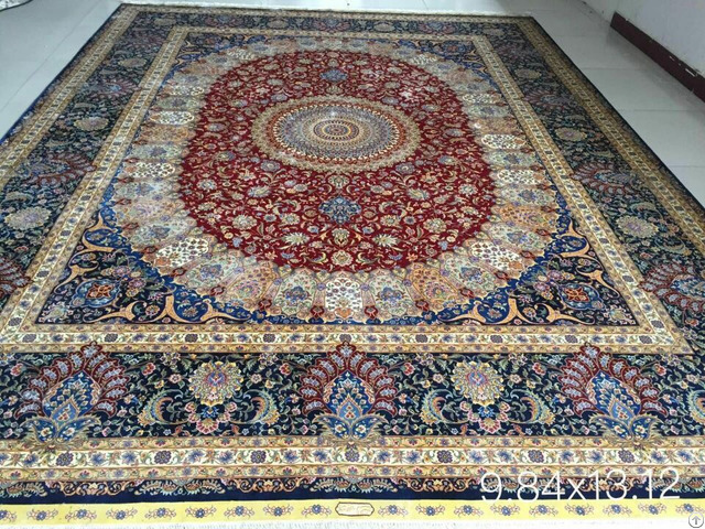 Irianian Antique Handmade Silk Persian Carpet