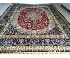 Irianian Antique Handmade Silk Persian Carpet