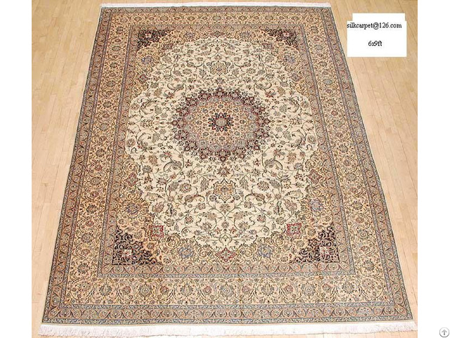 Antique Handmade Silk Persian Carpet