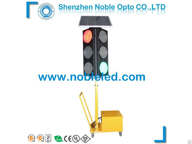 New 200mm 4 Way Portable Traffic Light With Solar Power